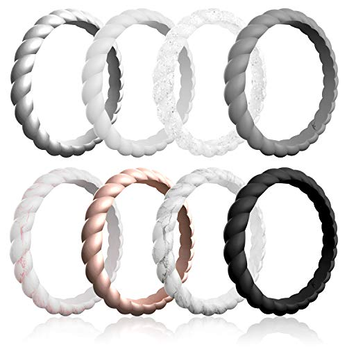 ROQ Silicone Wedding Ring for Women, Affordable Braided Stackable Silicone Rubber Wedding Bands, 8 Pack - Medical Grade Silicone - Black, White, Silver, Marble, Grey, Rose Gold Colors - Size 7