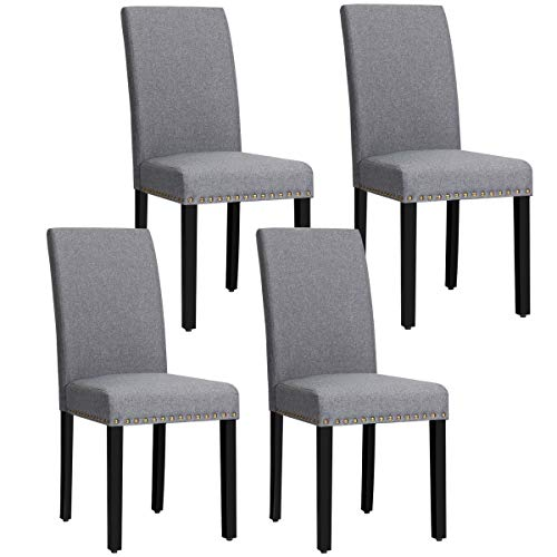 Giantex Set of 4 Upholstered Dining Chairs, w/Pine Wood Legs, Padded Seat, Fabric Parsons Chair for Dining Room (Dark Grey)