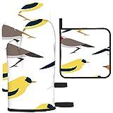 Puilkfgt Juego de 3 Manoplas y agarraderas para Horno con Textura de Estampado de pájaros Coloridos, Cocina Profesional Resistente al Calor