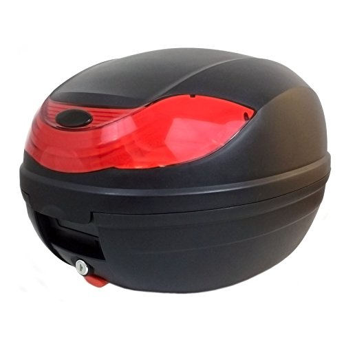MMG Motorcycle Scooter Top Box Tail Trunk Luggage Box, 32 Lt, Holds 1 Helmet, Hard Case (815)