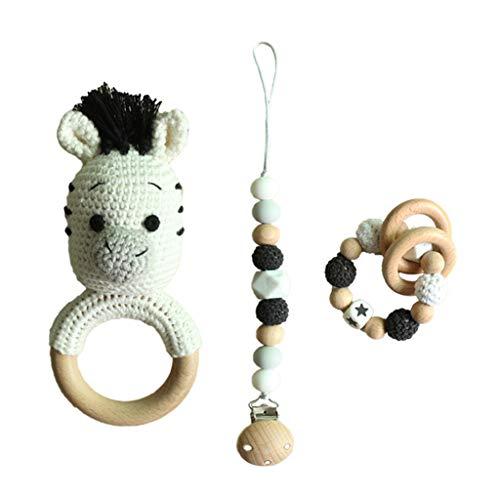 GLASSNOBLE Sonajero para bebés, 4 unidades/set de chupete de bebé, pulsera de dentición de ganchillo, cadena de chupete, juego de 3 piezas A