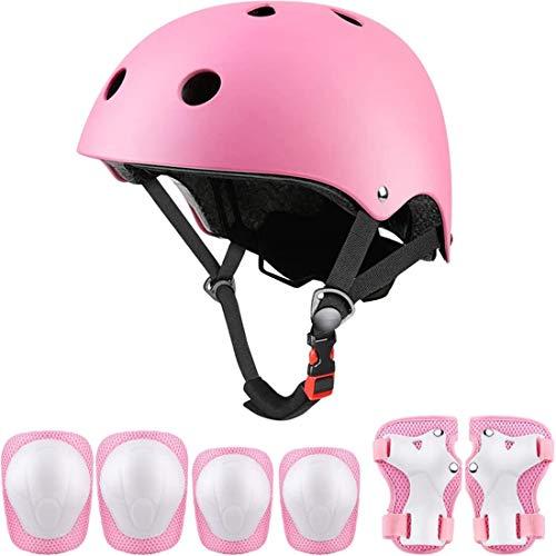 Set di protezioni sportive per bambini, casco da ciclismo regolabile per bambini con ginocchiere, gomitiere, protezioni per i polsi, casco da skateboard per ragazzi per 3~10 anni - Rosa