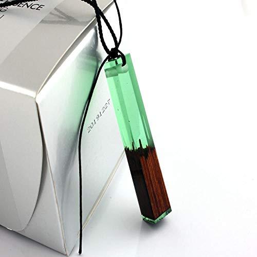 Collar Colgante De Resina De Madera Cúbica Collar Hecho A Mano Collares De Cuerda para Hombres Mujeres Regalo Joyería Inspiradora Verde Colar