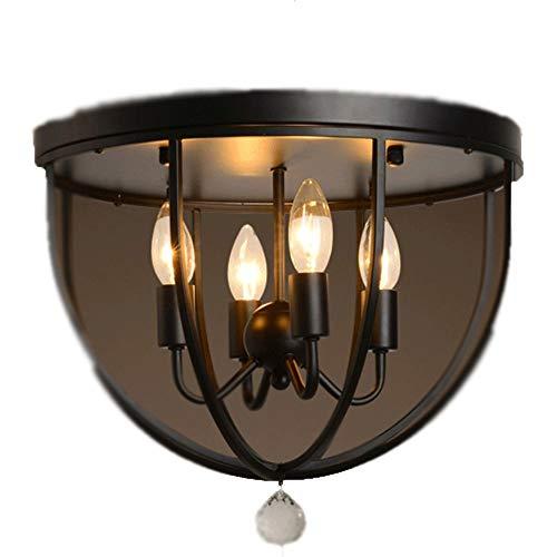 YWSZJ Vintage, Metal Negro, Jaula Redonda, luz de Techo, Montaje Semi Empotrado, Accesorio rústico, 4 Luces, Estilo Vela