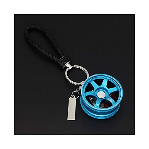 SHOYY Cadena dominante del Coche de la Rueda for el sostenedor del Anillo dominante Auto del Keychain Colgante for Las Llaves (Color Name : T Blue)