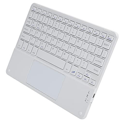 Teclado Bluetooth, Teclado Inalámbrico Portátil, Táctil, Multifunción, Accesorios de Computadora Externos, Tapa Cuadrada de 10 Pulgadas para SO, Android Y Windows(Blanco)