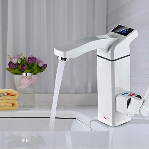 Küche Badezimmer Elektrischer Heizungshahn 3000W Elektrisch Schnell Warm Wasserhahn 220V Elektro Durchlauferhitzer mit LED Temperaturanzeige