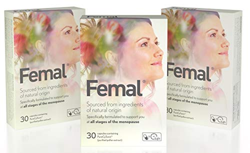 Femal Menopause Supplement, for Women with Menopause or Perimenopause, Scientifically Tested Formula, Plant-Based, No Hormones, No Phytoestrogens, 1 Capsule per Day, 90 Capsules, 3 Month's Supply