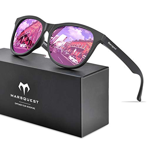 MARSQUEST 偏光 サングラス 偏光レンズ ウェリントン型 ミラー サングラス 超軽量フレーム採用 表面に特殊...
