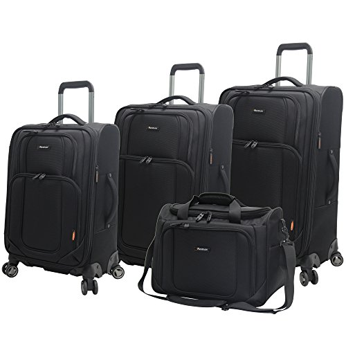 Pathfinder Presidential Designer Expandable Luggage Set 4 Piece with 8-Rolling Spinner wheels Soft side Lightweight Soft Shell Travel Suitcase Kit Includes Tote Bag, 21 Inch Carry on, 25 and 29 Inch