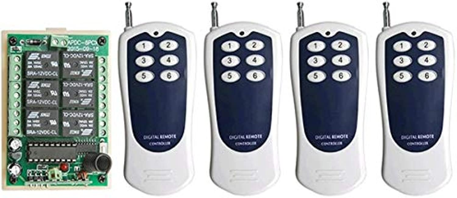 DC12V 6CH 10A RF Wireless Remote Control Switch System Transmitter+Receiver,315 433 MHZ lamp Window Garage Doors  (color  D)