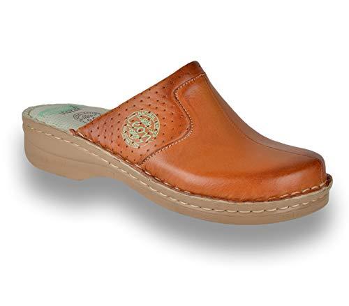 LEON 360 Zuecos Zapatos Zapatillas de Cuero para Mujer, Marrón, EU 40