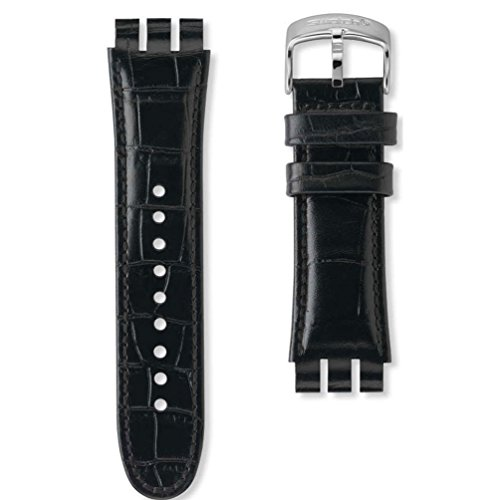 Armband Leder Schwarz Uhr Swatch Your Turn Black AYOS440 23 mm