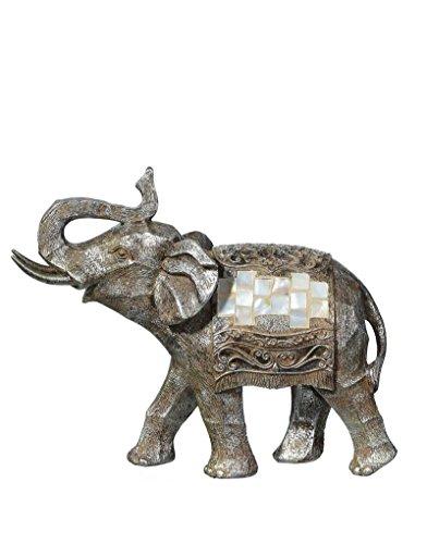 Argento elefante figura poliresina (18x24x9.5)