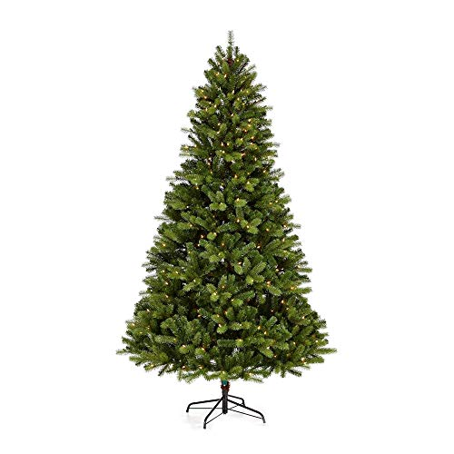 NOMA 7-Foot Pre-lit Christmas Tree with Lights   Durand   400 Incandescent Bulbs   Clear Warm White Lights   1336 Branch Tips
