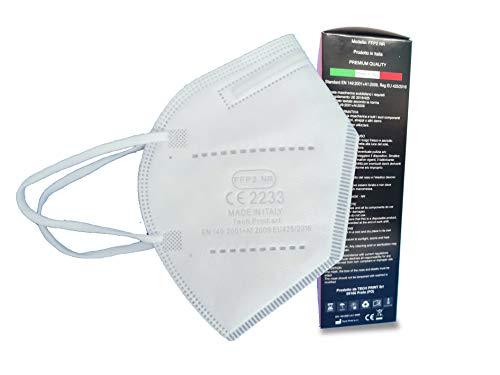 PROTECH TP Mascherine FFP2 MADE IN ITALY BIANCHE Certificate CE 2233 Categoria DPI: III, conformi EN 149:2001 + A1:2009. Box da 10 pezzi confezionate singolarmente