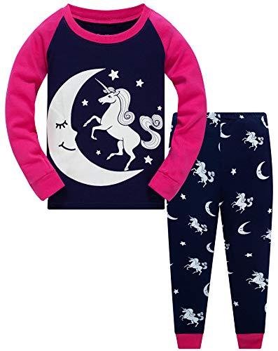 Little Girls Glow in Dark Unicorn Pajamas 2 Piece Set 100% Cotton Sleepwear Toddler Clothes Moon Style PJs (Moon Unicorn-6214-6T)