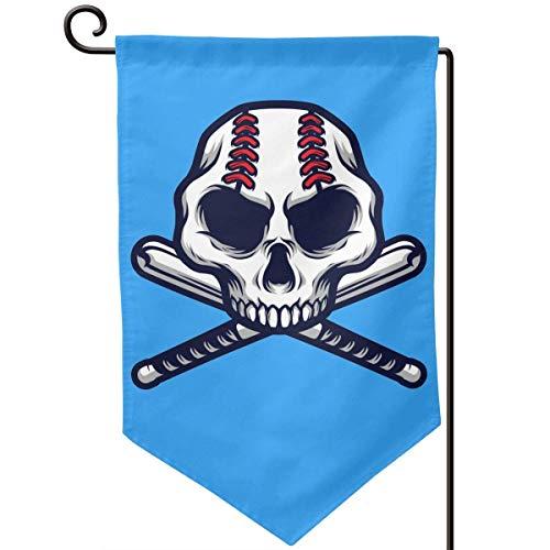 VLOOQ-HX Schädel mit gekreuzter Baseballschläger Gartenflagge Feiertagsdekoration doppelseitige Flagge 12,5