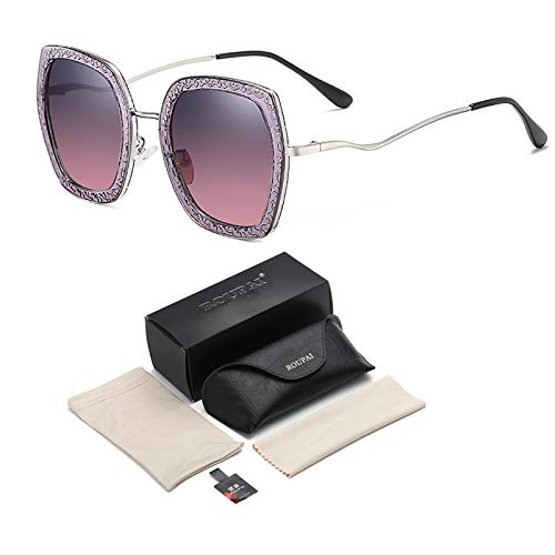 Gafas De Sol Cuadradas Polarizadas para Mujeres Lentes Espejadas UV400 Protección De Moda De Estilo Vintage De Moda Gafas De Sol Ligeras con Caja De Gafas,Púrpura