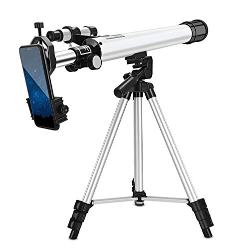 TOPQSC Telescopio para Principiantes para Niños,Telescopio Profesional de Viaje Astronómico,360° Ajustable,Equipado con un Trípode Ajustable,Starfinder y Soporte para Teléfono,para Niños y Adultos