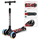 New Olym Kids Scooter for Boys and Girls 3 Flashing Wheels,Foldable with 4 Adjustable Height All-Covered Brake Great for Toddlers Ages 3-14 Years Black