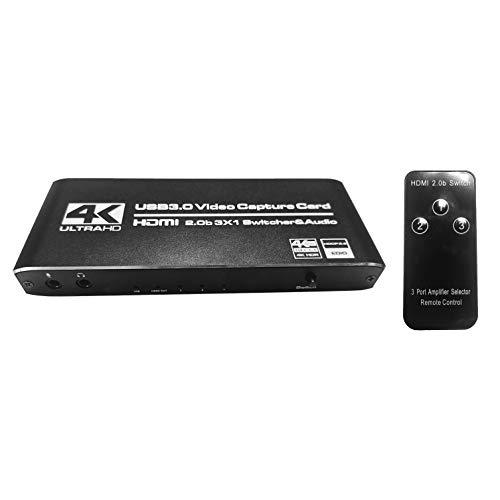 Mogzank USB 3.0 Tarjeta de Captura de Video 4K @ 30Fps @ 60Fps TransmisióN de Juegos de Alta Velocidad de 5Gbps para Switch, Youtube, OBS, Potplayer, VLC
