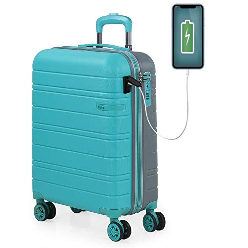 JASLEN - Maleta Cabin Pequeña con Ruedas Rígida Extensible Hombre Mujer. Conexión para Carga USB. 4 Ruedas Trolley. Equipaje de Mano. Candado de Seguridad TSA. 171250, Color Turquesa-Plata