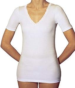 Velan 60201 (Talla 5 Blanco) - Camiseta térmica Manga Corta Cuello en V Ropa Interior para Mujer Algodón Hilo de Escocia