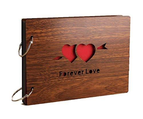 Fotoalben Scrapbook DIY Fotoalbum Bilderalbum Vintage Style Sticker Tagebuch aus Holz Geburtstaggeschenk 8 Zoll (forever love)