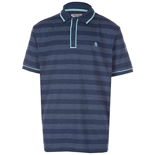 Original Penguin Boy's Slub Stripe Earl Polo Shirt 10-11 Blue