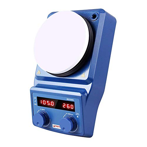 Four E'S Scientific 5 Inch LED Digital Display Magnetic Stirrer Hot Plate with Ceramic Top 100-1500RPM, 3L Max Stir Capacity UK Plug
