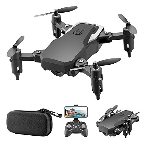 Mini Drone with Camera for Kids, GoolRC LF606 WiFi FPV Drone with 4K HD Camera, Foldable RC Quadcopter with Altitude Hold, Headless Mode,3D Flips, One Key Take Off/Landing, Include Carrying Bag(Black)