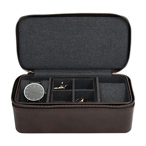 Stackers Box für Uhren und Manschettenknöpfe, mit Reißverschluss, Braun