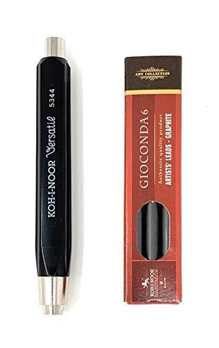 Koh-I-NOOR 5344, matita e variante con mine di ricambio 1 Minenhalter + Ersatzminen 2B Nero