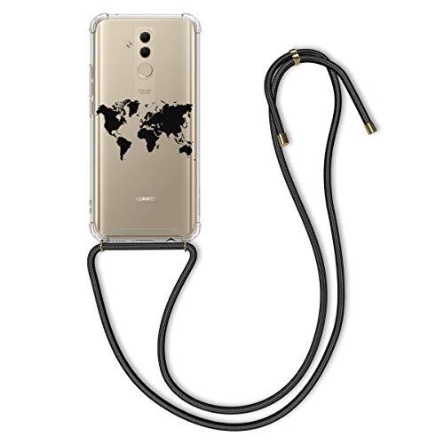 kwmobile Hülle kompatibel mit Huawei Mate 20 Lite - mit Kordel zum Umhängen - Silikon Handy Schutzhülle Travel Umriss Schwarz Transparent