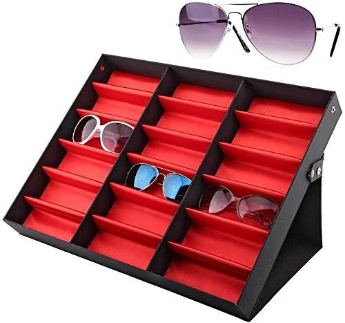 Caja de joyería, bandeja de pantalla de anillos, caja de almacenamiento, caja de regalo, perlas Pantalla de almacenamiento Pendiente Pendiente Organizador Employcase Gafasses Bandeja, 18 tragamonedas