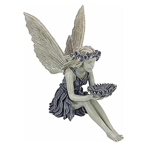Ysimee Elfen Figur 14 cm, Vogeltränke Stein Gartendeko, Sitzende Fee Figur mit Flügeln, Gartendeko Figuren aus hochwertigem Harz