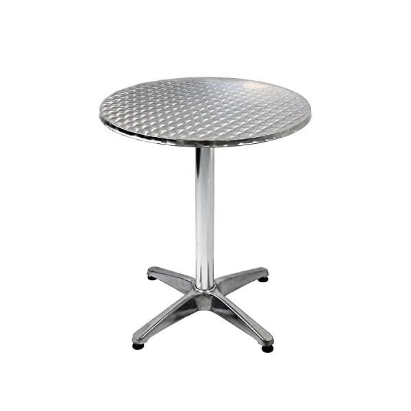 Wohaga 5tlg. Bistromöbel-Set Bistrotisch Ø60cm einklappbar mit Niveauausgleich + 4X Bistrostuhl stapelbar Aluminium…