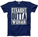 HotScamp Straight Outta Wuhan Coronavirus Covid-19 - Camiseta Unisex para Hombre Azul Azul Marino XL