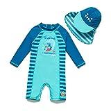BONVERANO Baby Junge Badeanzug EIN stück Langärmelige-Kleidung UV-Schutz 50+ Badekleidung MIT Einem Reißverschluss (Blauer Dinosaurier, 92-98)