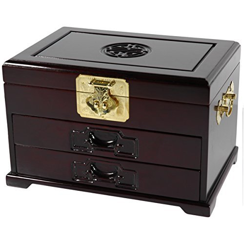 Hot Sale Oriental Furniture Luxury Fine Anniversary Gift Idea for Wife, 12-Inch Qing Rosewood Jewelry Box with Symbol and 2 Drawers, Dark