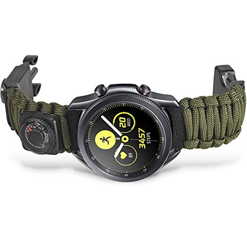 Onewly Compatible with Galaxy Watch 3 45mm/Galaxy Watch 46mm Band,22mm Multi-Functional Outdoor Survival Umbrella Rope Watch Strap for Gear S3 Frontier/Classic (ArmyGreen)