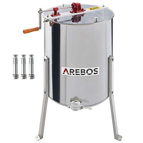 Arebos Manuelle Honigschleuder Tangentialschleuder 4 Waben Schleuder 4 -Frame-Extraktor Honigschleuder aus Edelstahl