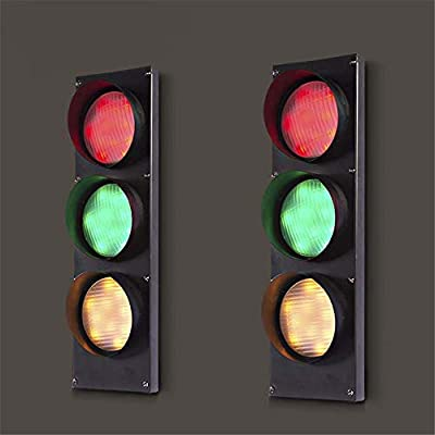 NIUYAO Traffic Light Wall Light Retro Industrial Wall Lamp with Remote Control 3 Light 19'' H 5W Energy-Saving LED Wall Lamp in Black Finish Bulb Included