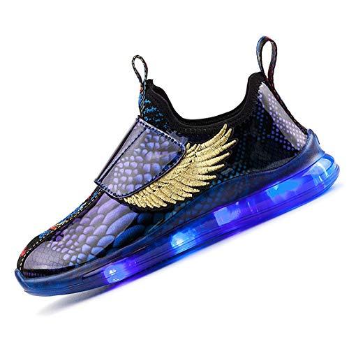 Scarpe Che Si Illuminano,Bambini Scarpe Sportive LED Luminosi Leggero Traspirante Sneakers Lampeggiante USB Ricaricabile 7 Colori Colorati Outdoor Multisport Dimensioni (25-37)Phantom Blue-26