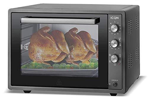 ICQN 70XXL Mini-Öfen | 1800 W | Mini-Backofen mit Innenbeleuchtung und Umluft | Pizza-Ofen | Doppelverglasung | Drehspieß | Timer Funktion | Emailliert Black | Anthrazit