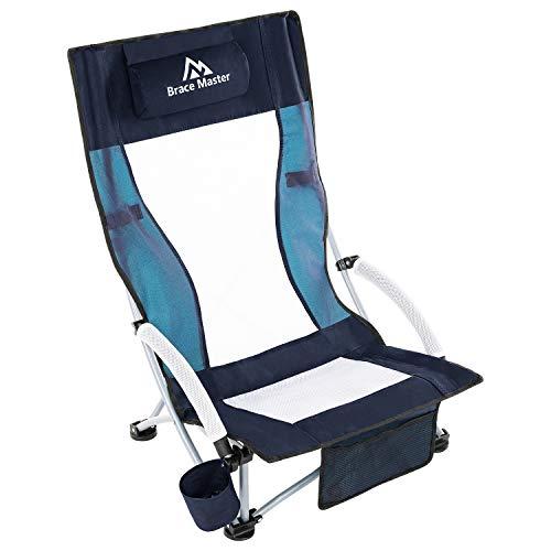 Brace Master - Silla de playa con almohada para playa, camping, césped, malla plegable, diseño de respaldo (azul marino)