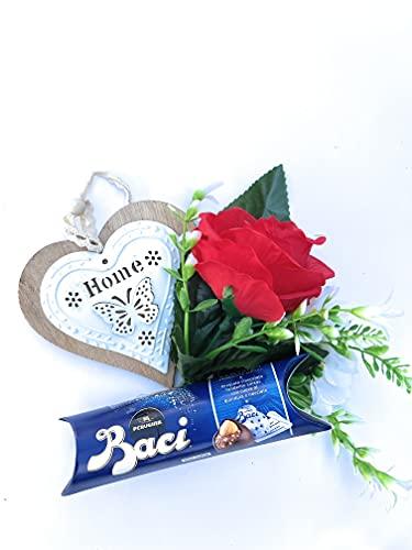 Auguri Baci Perugina -Regalo Mamma- Regalo Papà - Idea Regalo Tubino Perugina Classici 37,5g + Rosa Rossa artificiale + Decorazione Appendibile in Legno (Home)