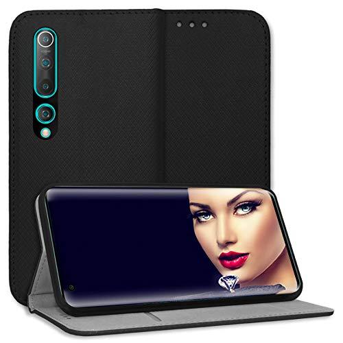 mtb more energy Funda Bookstyle para Xiaomi Mi 10, Mi 10 Pro (6.67'') - Negro - Cuero sintético - Carcasa Estuche Wallet Case Cover