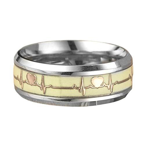 WEFH Luminous ECG Couple Rings Trendy Heartbeat Ring Juego de Anillos Unisex de Moda, 6